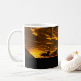 Sunset Run Horses Photograph Mug