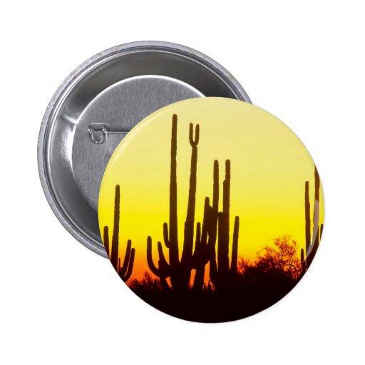 Sunset Saguaro Cactus Arizona Buttons