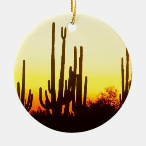 Sunset Saguaro Cactus Arizona Ornaments