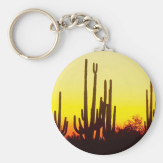 Sunset Saguaro Cactus Arizona Keychains