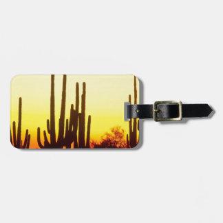 Sunset Saguaro Cactus Arizona Travel Bag Tags