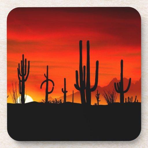 Sunset Saguaros Sonoran Desert Arizona Beverage Coaster