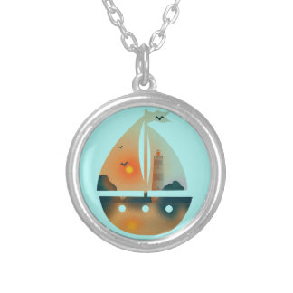 Sunset_sail boat silver plated necklace