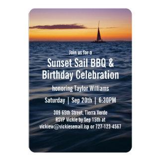 Sunset Sail Contemporary Birthday Card