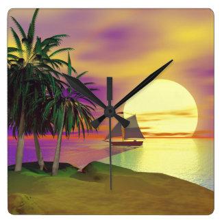 Sunset Sail Square Wall Clock