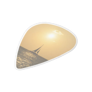 Sunset Sail White Delrin Guitar Pick