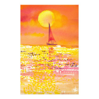 Sunset Sailboat Stationary Stationery