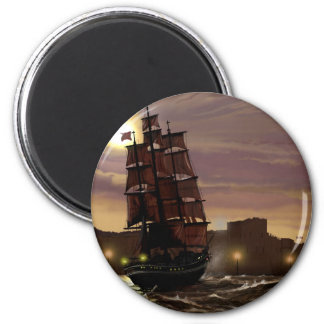 Sunset sailing boat viewed through spyglass. 6 cm round magnet