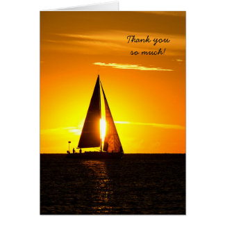 Sunset Sailing Thank You Note Card