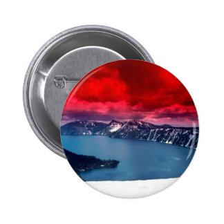 Sunset Scarlet Skies Crater Lake Pinback Buttons