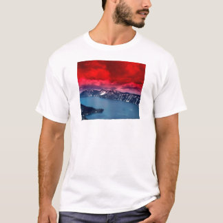 Sunset Scarlet Skies Crater Lake T-Shirt