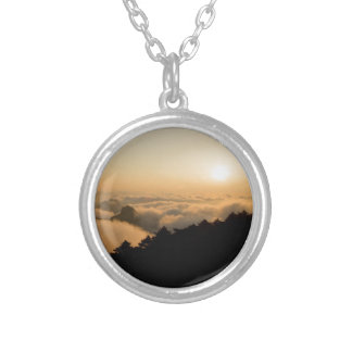 Sunset scene in a China Huang mountain Silver Plated Necklace