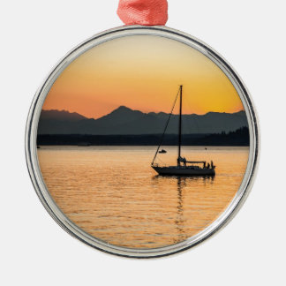 Sunset Serenity Silver-Colored Round Decoration