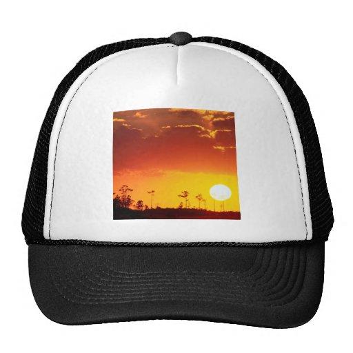 Sunset Setting Swampland Everglades Florida Trucker Hats