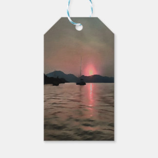 Sunset Shores In Pink And Grey Gift Tags