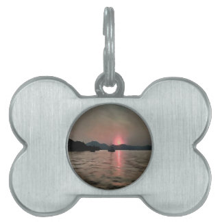 Sunset Shores In Pink And Grey Pet Tag