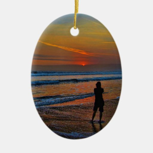 Sunset Silhouette Christmas Ornament