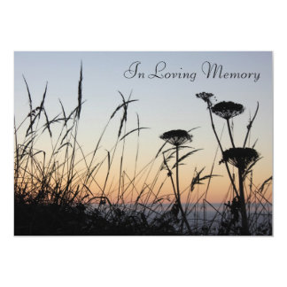 "Sunset Silhouette Memorial Service Announcement 5"" X 7"" Invitation Card"