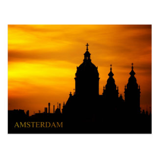 Sunset Silhouette of The Basilica of St. Nicholas Postcard
