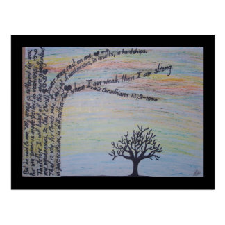 Sunset silhouette with 2 Corinthians 12:9-10 Postcard