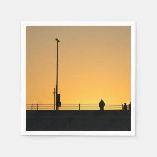 Sunset silhouettes paper napkin