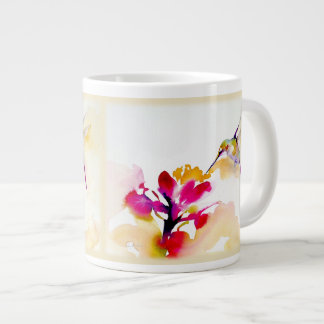 """Sunset Sip"" Hummingbird Print Large Coffee Mug"
