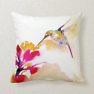 """Sunset Sip"" Hummingbird Print on Cushion"