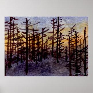 """Sunset Skags"" Landscape Poster pines"