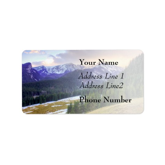 Sunset Sky And Snow Covered Mountains Label