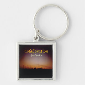 Sunset Sky Jazz Stories Album Cover Art Orange Silver-Colored Square Key Ring