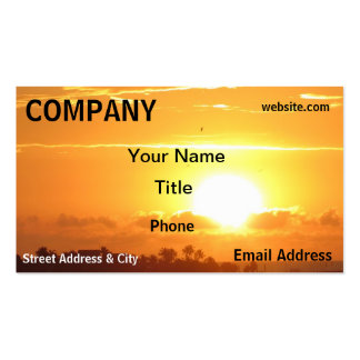 Sunset Sky Orange Yellow Palm trees Business Card