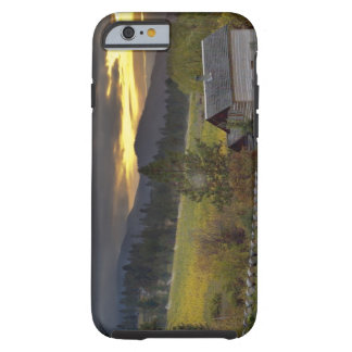 Sunset sky over vineyards and historic log cabin tough iPhone 6 case