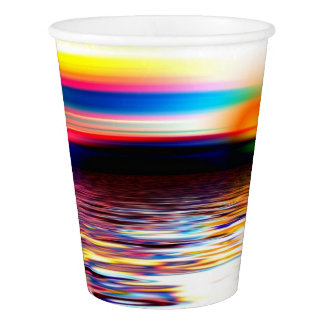 Sunset Sky Sea Ocean Waves Modern Art Paper Cups