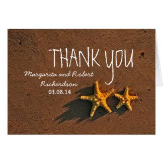 Sunset starfish couple wedding thank you greeting card