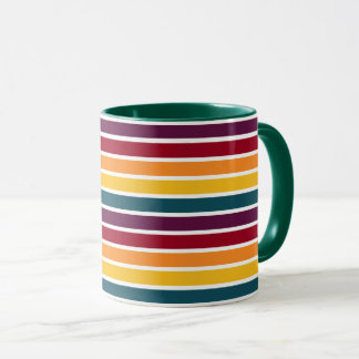 Sunset Stripes Dark Green Combo Mug