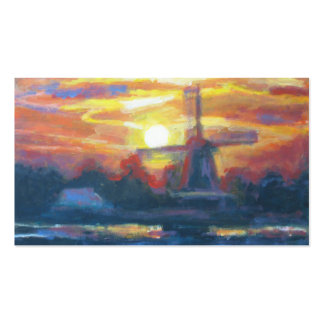 Sunset/ Sunrise Windmill Painting Art Double-Sided Standard Business Cards (Pack Of 100)