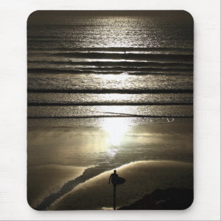 Sunset surfer at Polzeath Mouse Pad