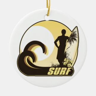 Sunset Surfer Ceramic Ornament