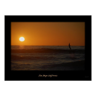 Sunset Surfer Poster