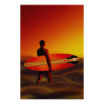 Sunset Surfer Surfing Poster