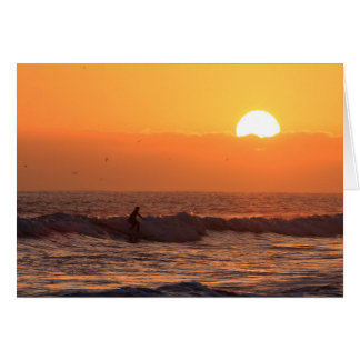 Sunset surfing card