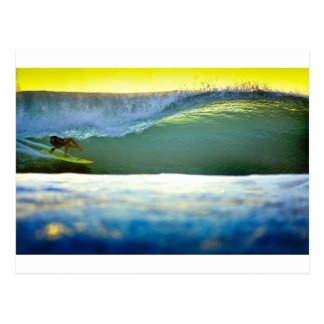 Sunset surfing tropical paradise waves postcard