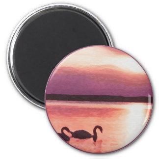 Sunset Swans Fridge Magnets