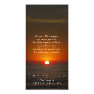 Sunset Sympathy Thank You Photo Card