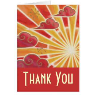 Sunset 'Thank You' card red