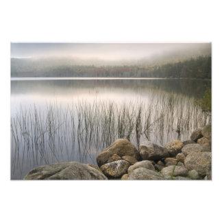 Sunset through fog over Upper Hadlock Pond Photo Print