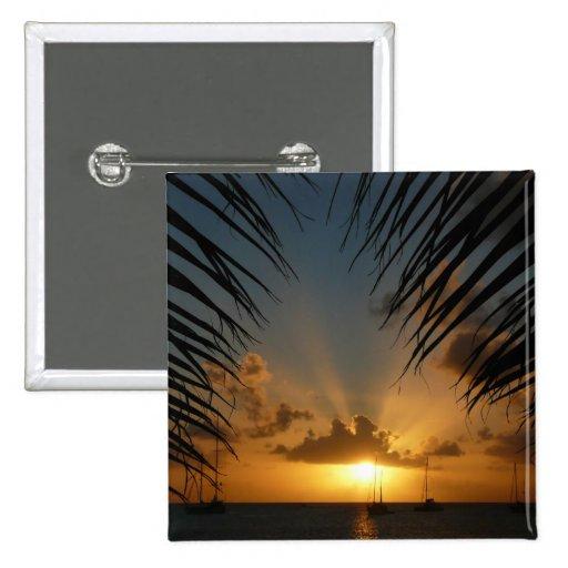 Sunset Through Palm Fronds Button