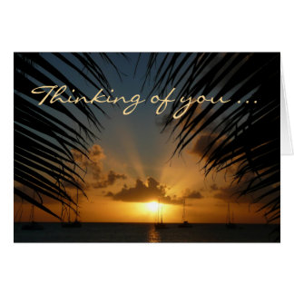"""Sunset Through Palm Fronds """"Thinking of You"""" Card"""