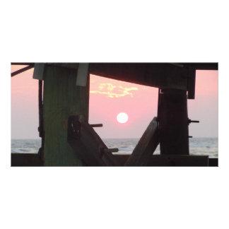 Sunset Through The Pier - Oak Island, NC Photo Greeting Card