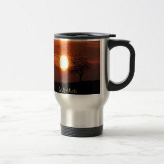 Sunset, Tree, Birds, Weimaraner, Dog Travel Mug